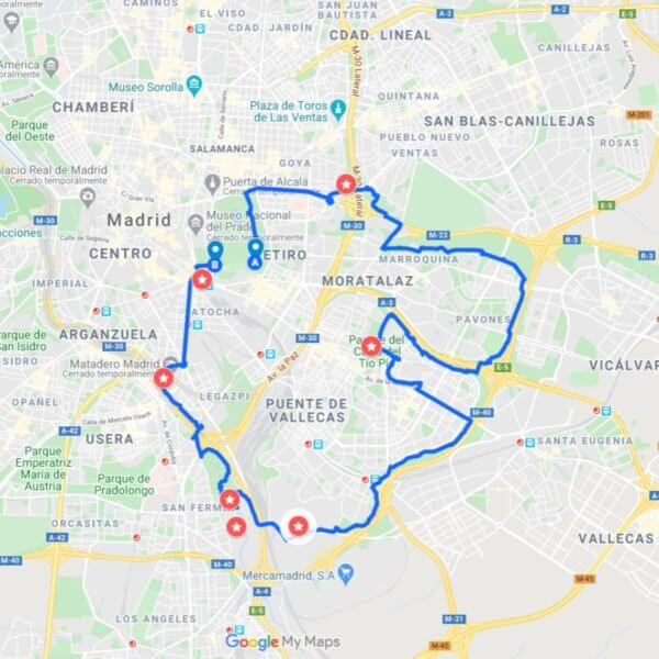 ruta en bici madrid este