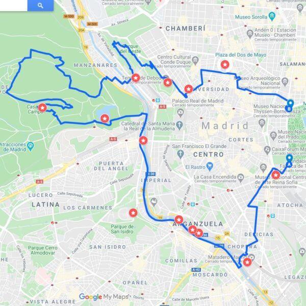ruta en bici madrid centro y casa de campo